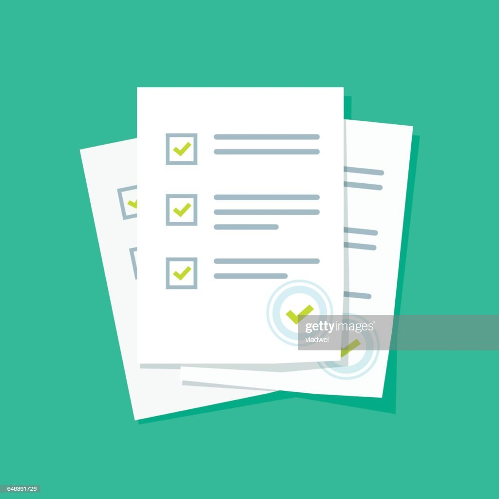 Survey or exam form paper sheets pile with answered quiz checklist and success result assessment