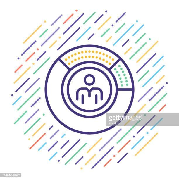 umfrage zu berichterstattung & ergebnisse analyse vektorgrafik linie symbol - journalismus stock-grafiken, -clipart, -cartoons und -symbole