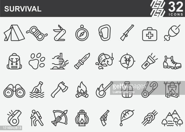 survival line icons - animals hunting stock illustrations