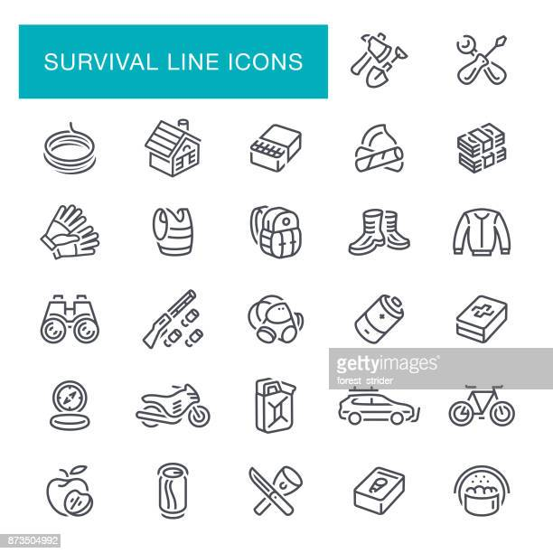 survival line icons - military training stock illustrations