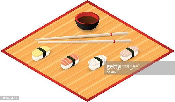 Sushi and Chopsticks on Bamboo mat