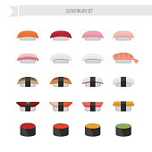 Sushi and roll illustration set.