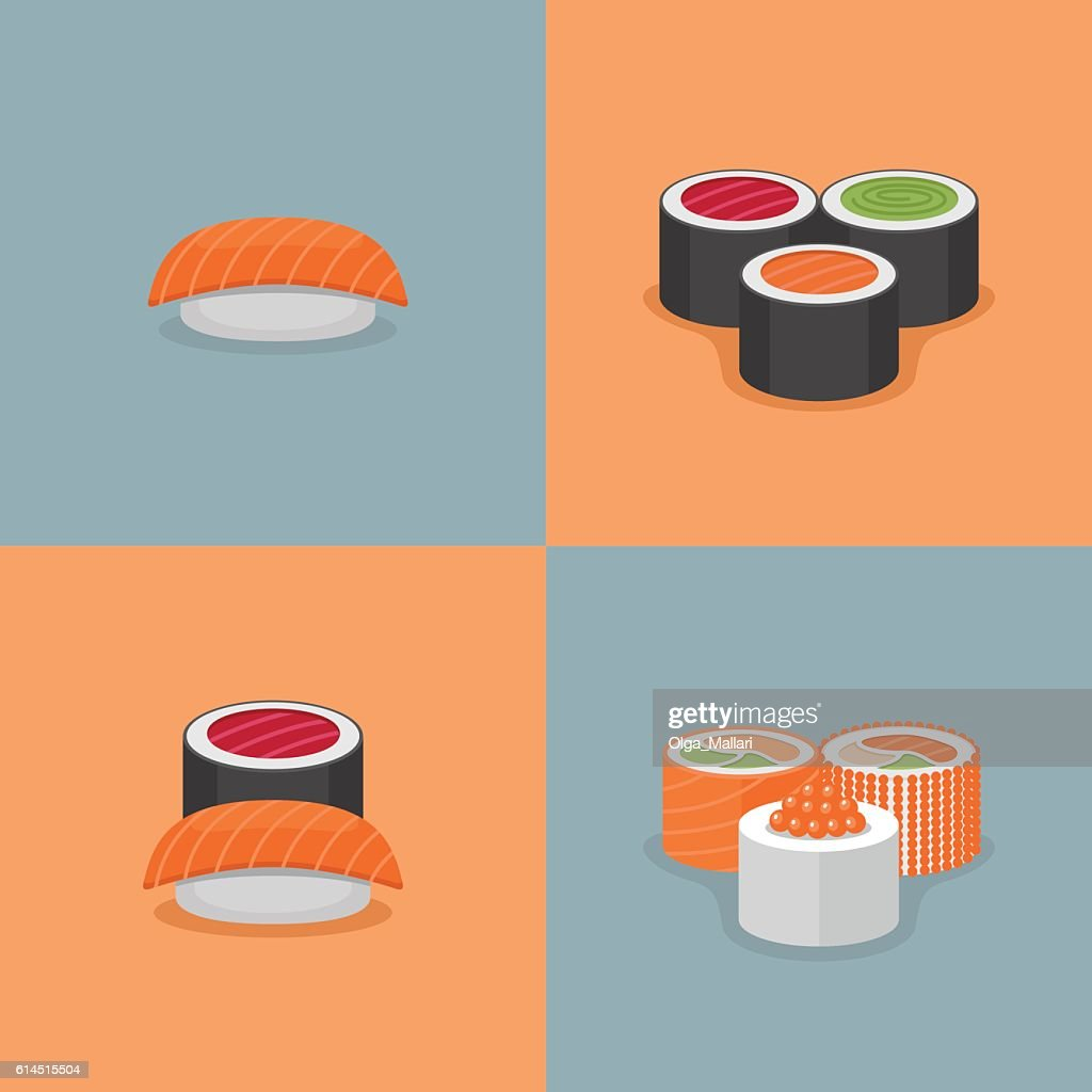 Sushi and roll illustration set.