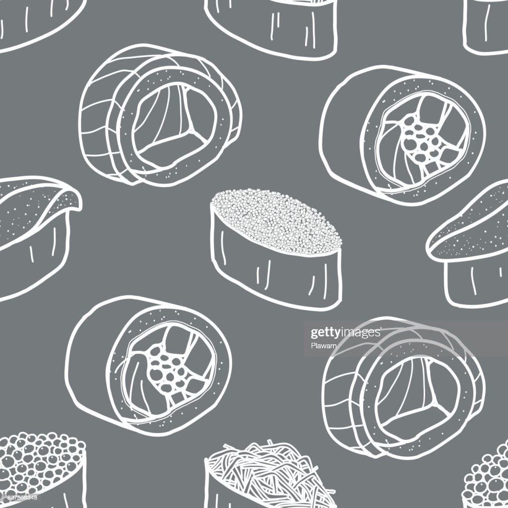 Sushi and roll in white outline on grey background. Cute japanese food illustration hand drawn. Seamless patterm.