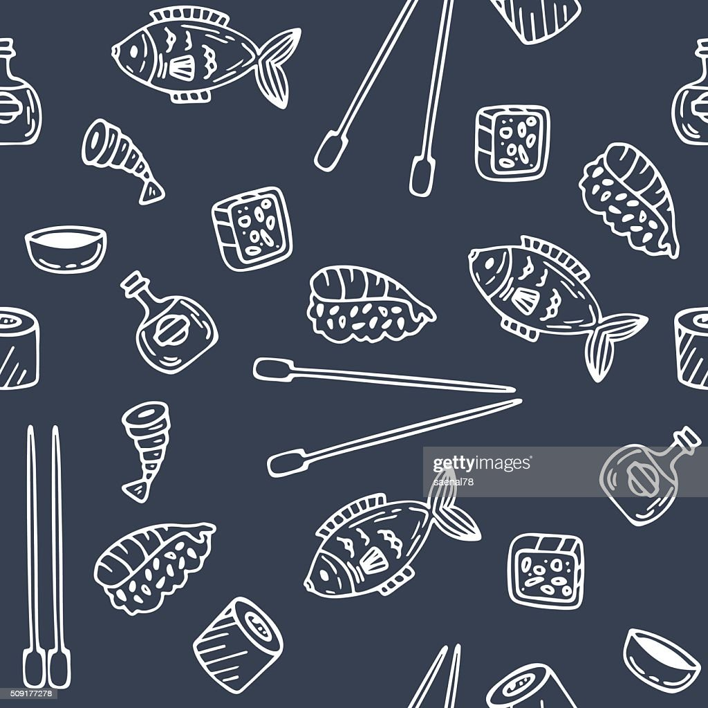 Sushi and rolls seamless pattern. Hand drawn sketch