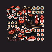 sushi and rolls, vector illustration