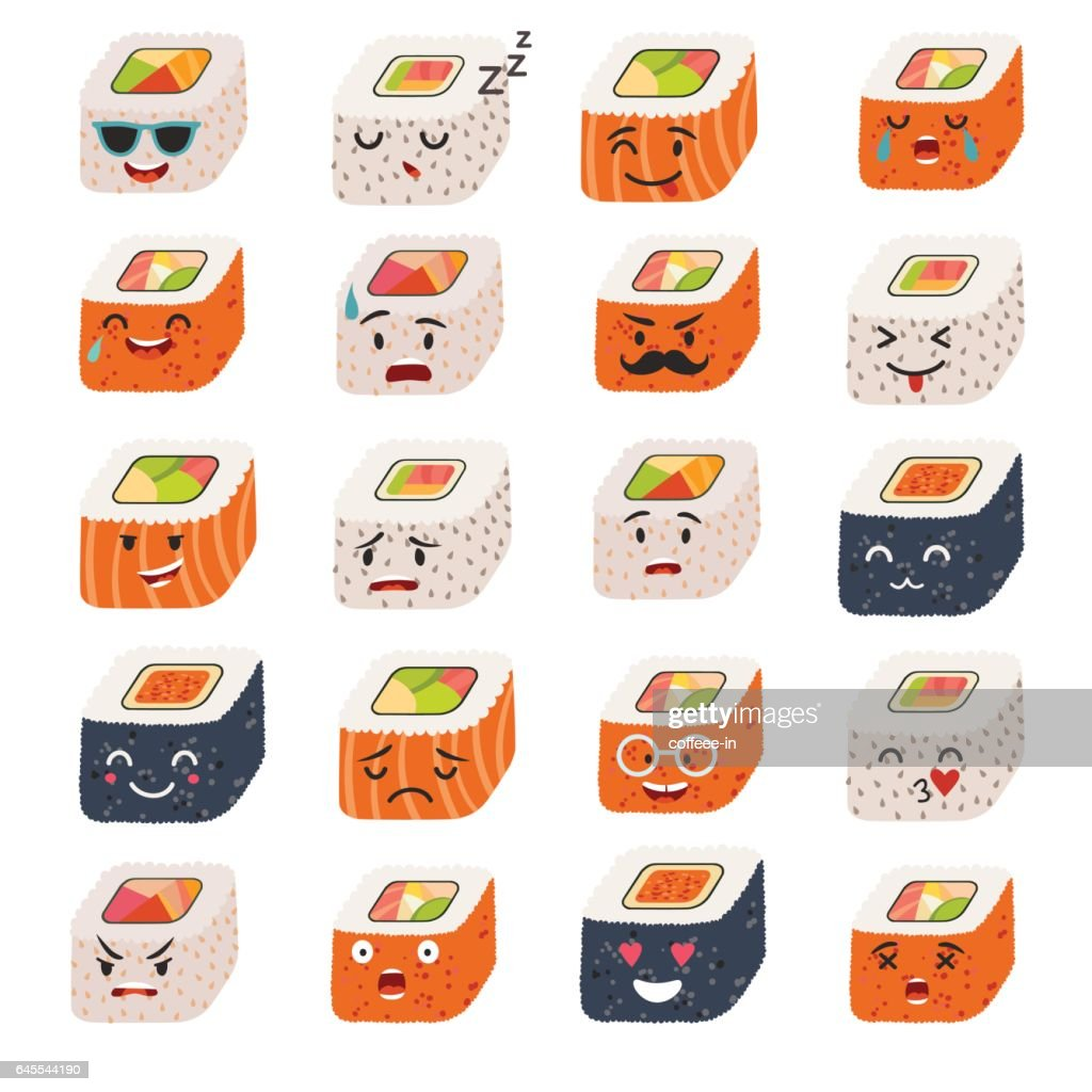 Sushi and sashimi emoji vector set