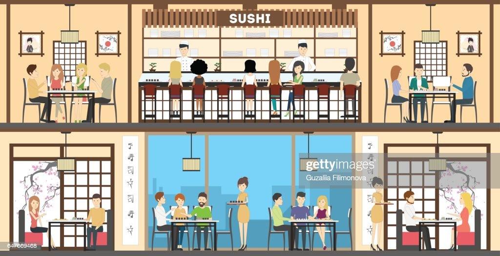 Sushi bar interior set. oriental style.