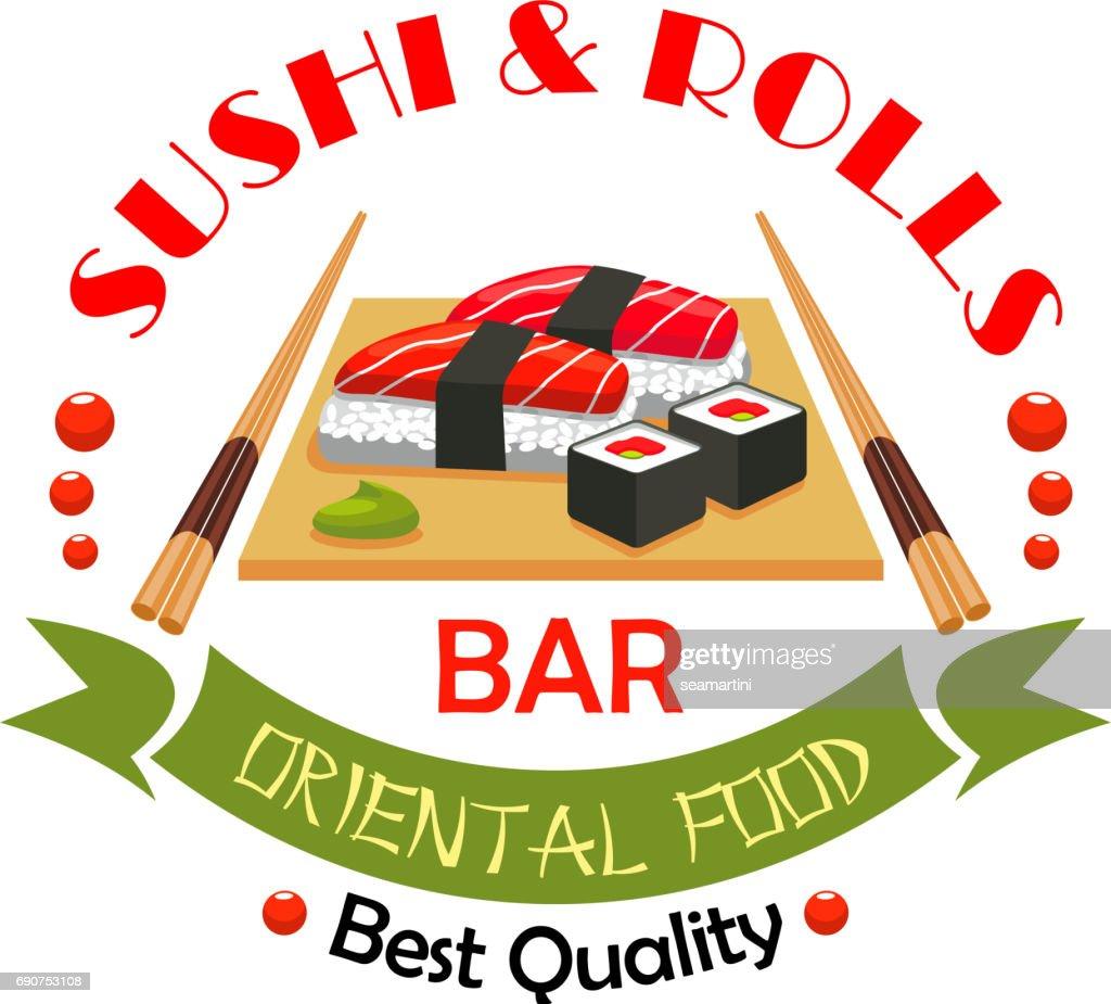 Sushi bar, japanese food restaurant sign design