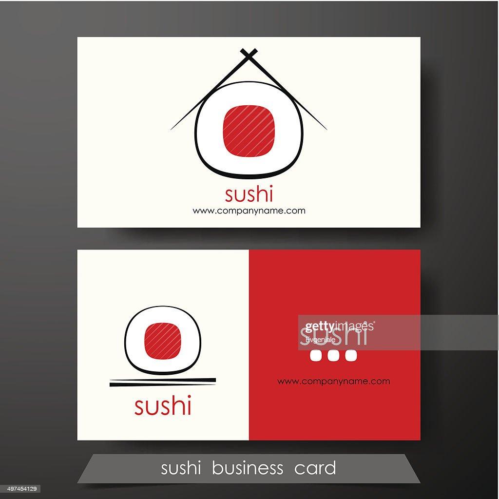 Sushi business cards design template with text on horizontal background.