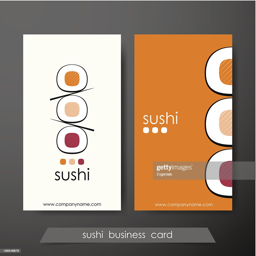 Sushi business cards design template with text on vertical background.