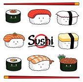Sushi cartoon character on white background