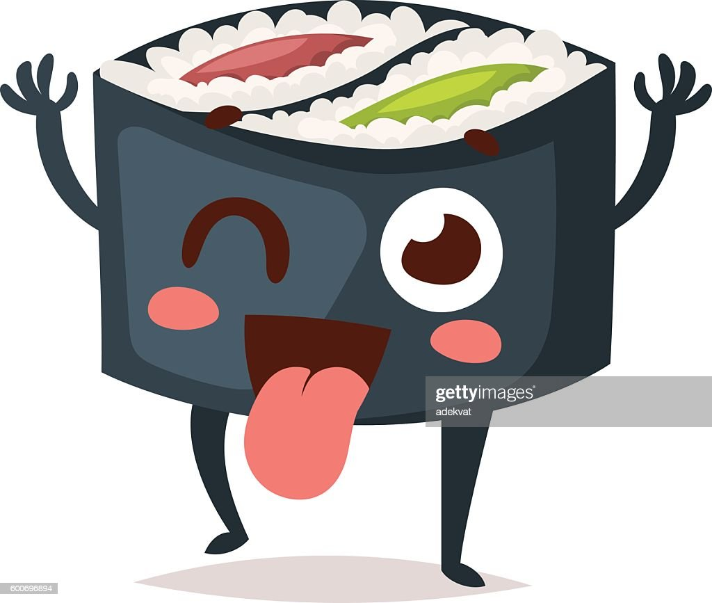 Sushi character vector isolated