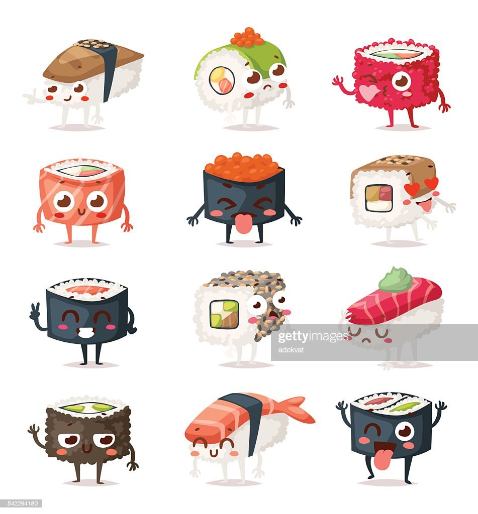 Sushi characters vector set.