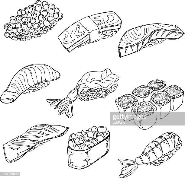 Sushi collection in black and white