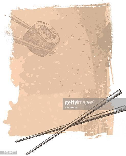 sushi design - chopsticks stock illustrations, clip art, cartoons, & icons