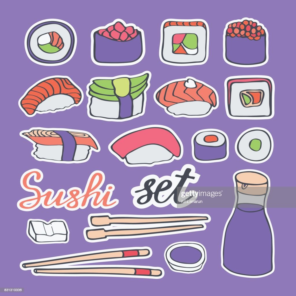Sushi doodle icons vector set