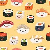 Sushi emoji seamless pattern, cartoon style