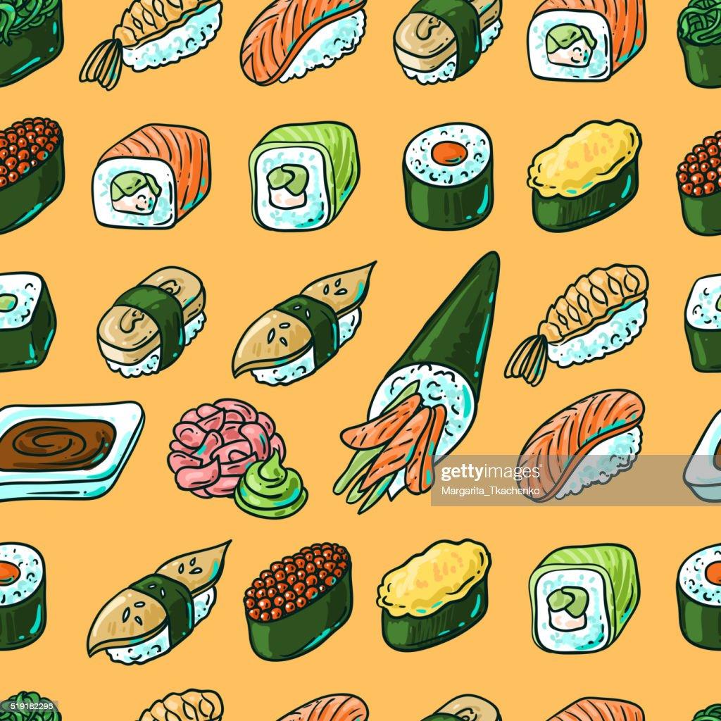 Sushi hand drawn