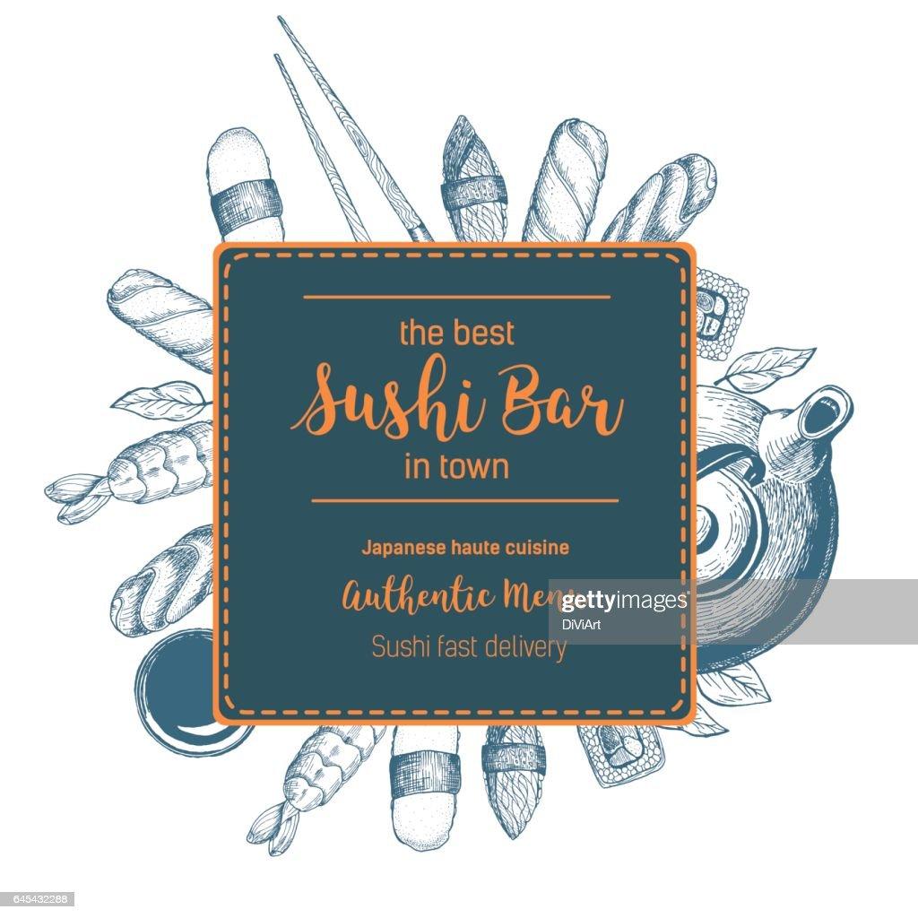 Sushi hand drawn vector illustration.
