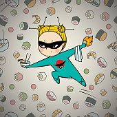 Sushi hero chef of japanese cuisine