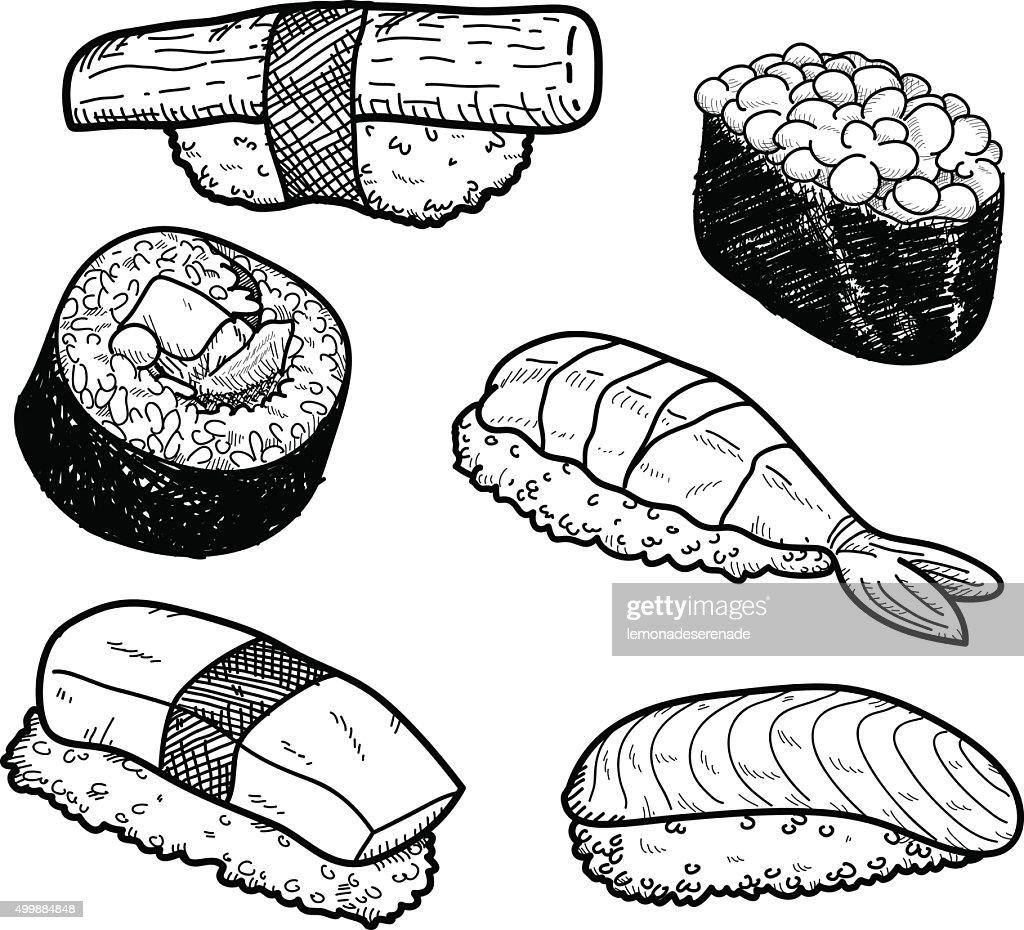 Sushi Icon Doodle Set