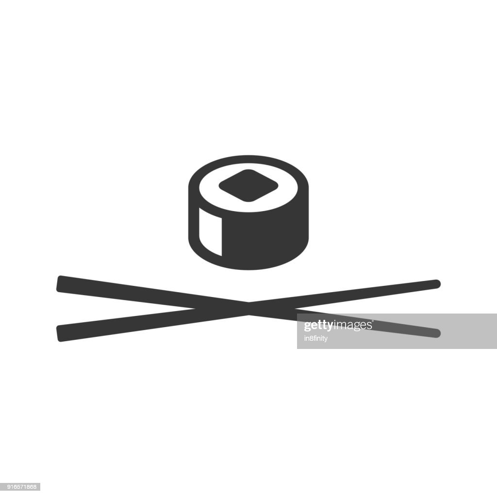 Sushi Icon. Roll and Chopsticks Sign on White Background. Vector