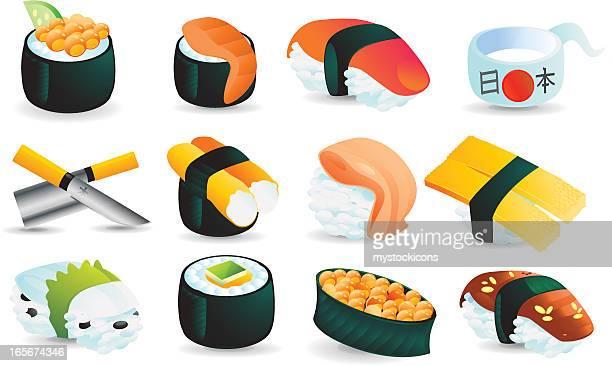 寿司のアイコンセット - 寿司点のイラスト素材/クリップアート素材/マンガ素材/アイコン素材