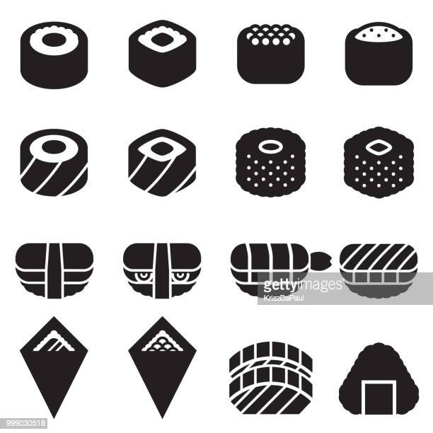 sushi icons [black edition] - maki sushi stock illustrations