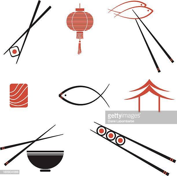 illustrazioni stock, clip art, cartoni animati e icone di tendenza di icone di sushi - bacchetta