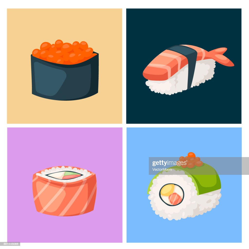 Sushi japanese cuisine traditional food flat healthy gourmet icons asia meal culture roll vector illustration