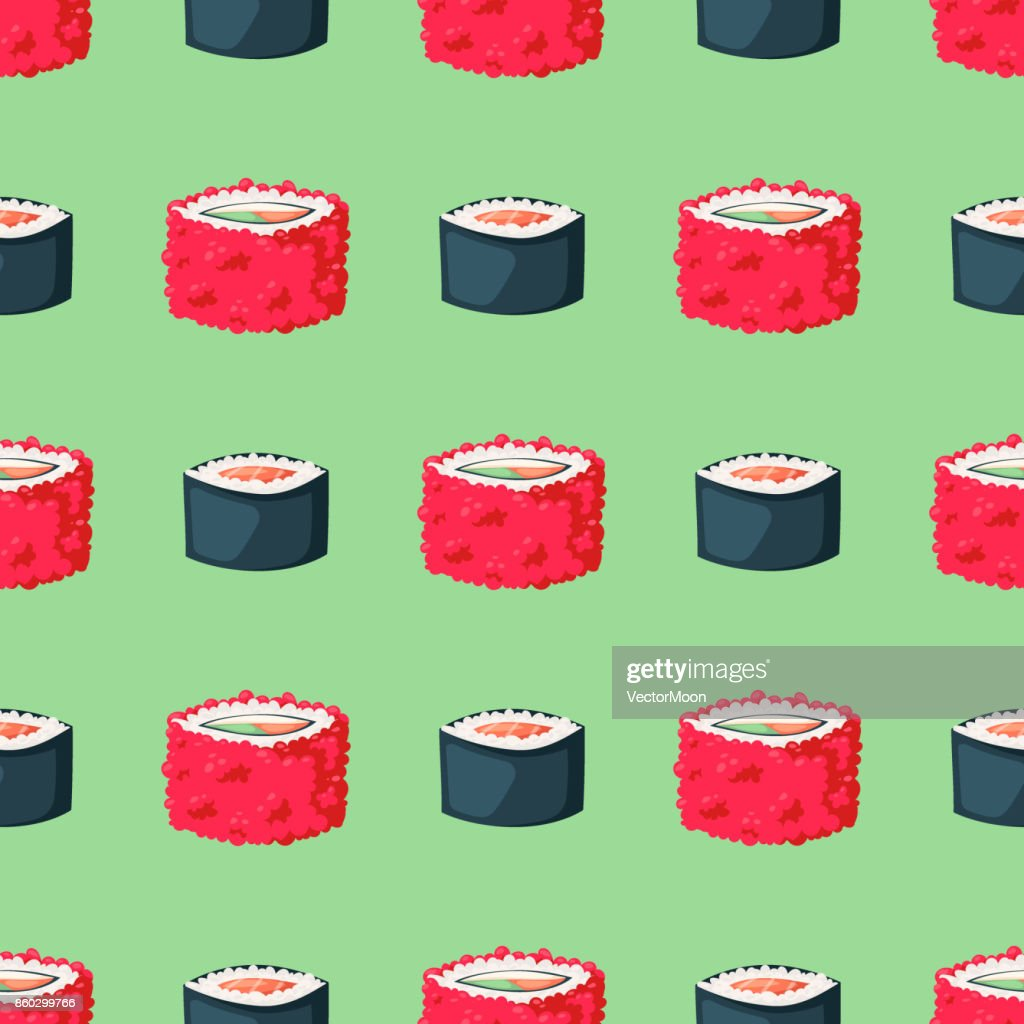 Sushi japanese cuisine traditional food flat healthy gourmet seamless pattern background asia meal culture roll vector illustration
