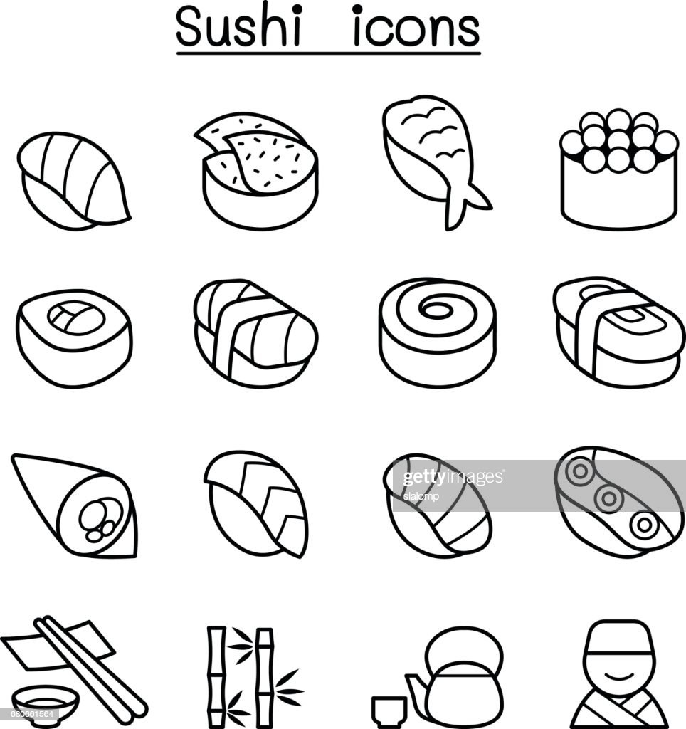Sushi & Japanese food icon set in thin line style