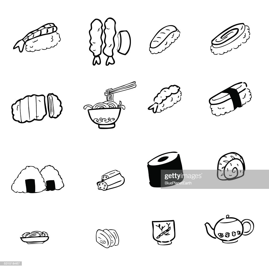 Sushi Japanese foods icons set