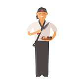 Sushi master young chef decorating delicious character vector