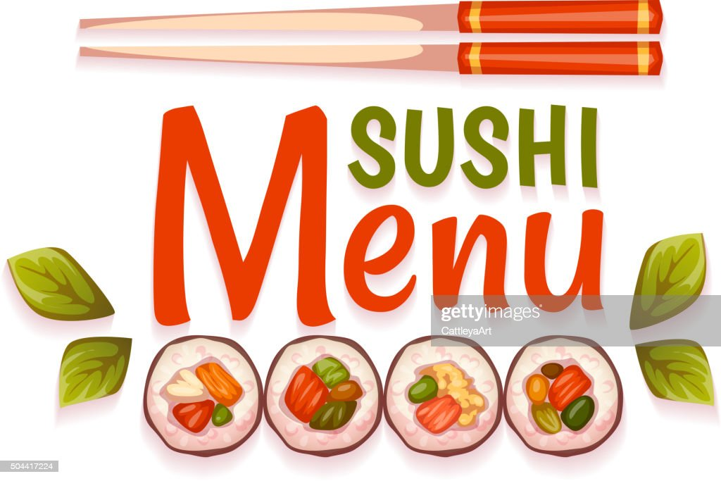 Sushi menu for restaurant. Vector illustration