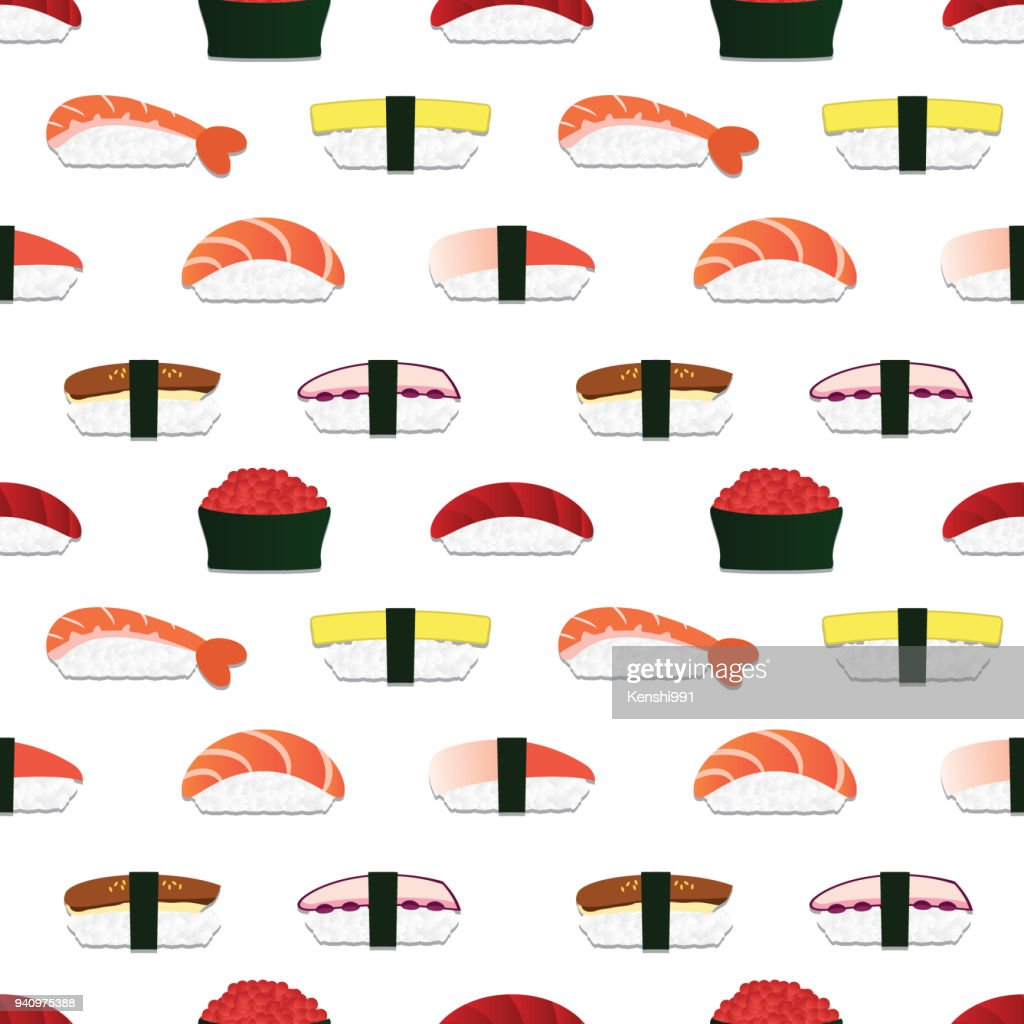 Sushi nigiri seamless pattern. Vector.