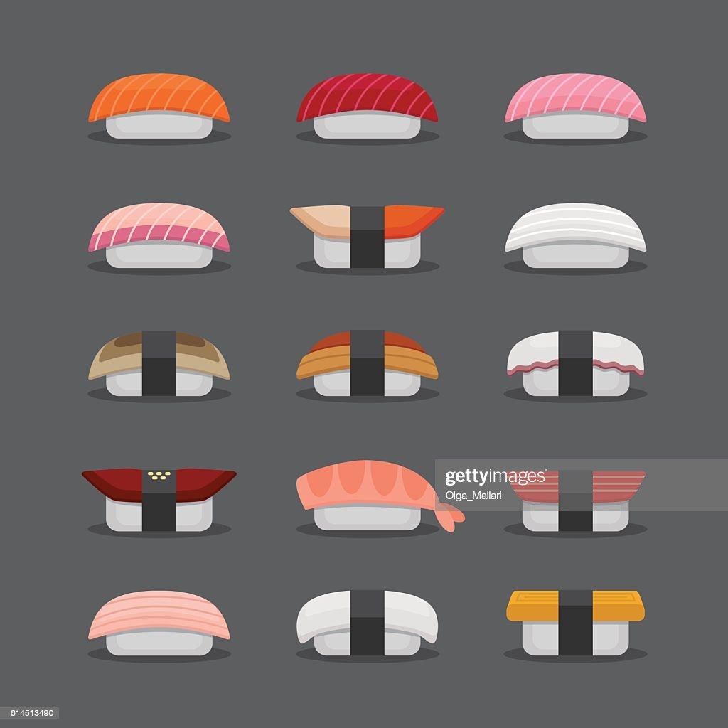 Sushi nigiri set, flat style