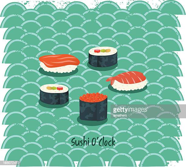 ilustrações, clipart, desenhos animados e ícones de sushi horas - rolo