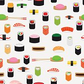 Sushi pattern with colorful flat elements