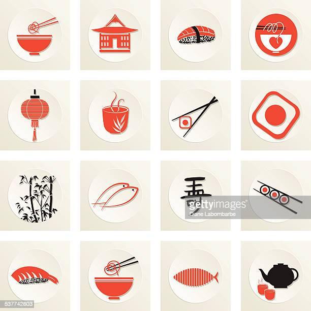 sushi restaurant icon - japanese language stock illustrations, clip art, cartoons, & icons