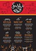 Sushi restaurant menu, template design.