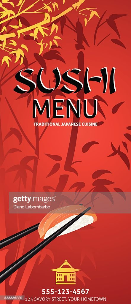 Sushi Restaurant Menu Template Or Background With Bamboo