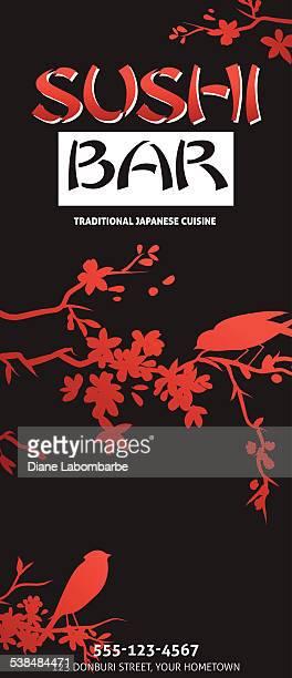 寿司レストランメニューテンプレートまたは背景にバンブー
