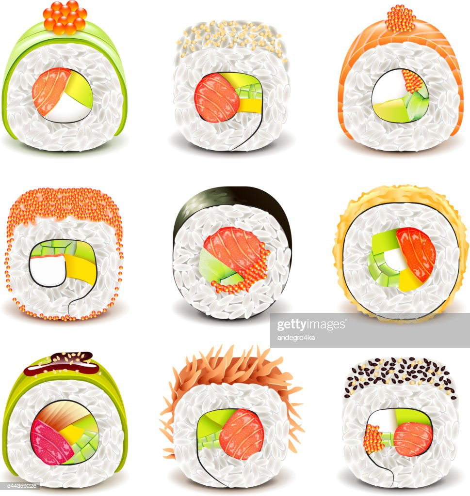 Sushi roll icons vector set