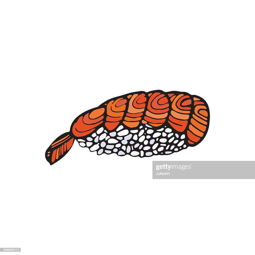 Sushi Roll Japanese Traditional Food Icon Isolated Hand
