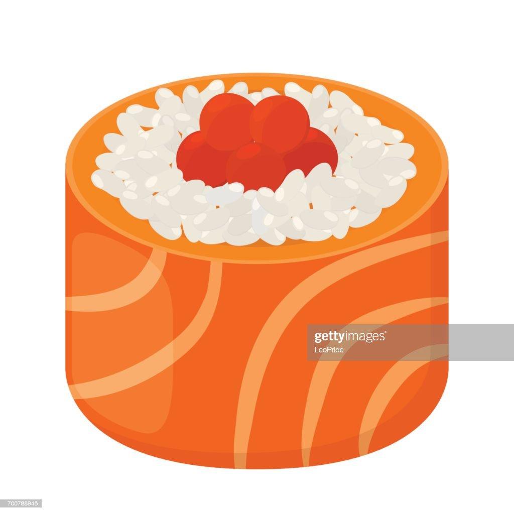 Sushi roll - tasty food. Raw fish, caviar, rice. Flat style