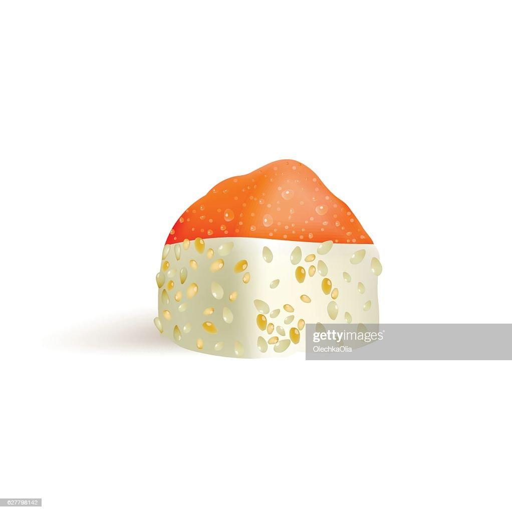 Sushi roll vector icon. Food japanese menu