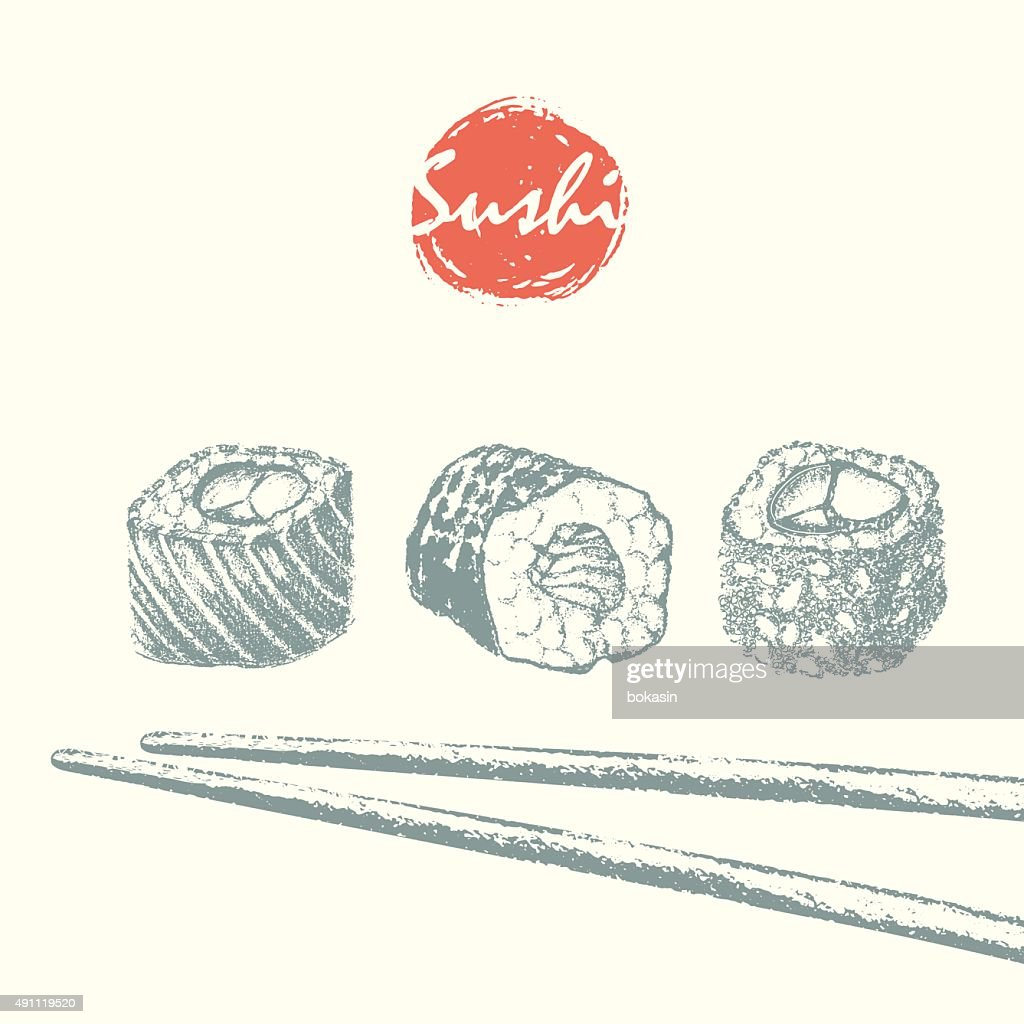 Sushi rolls and chopsticks sketch background.