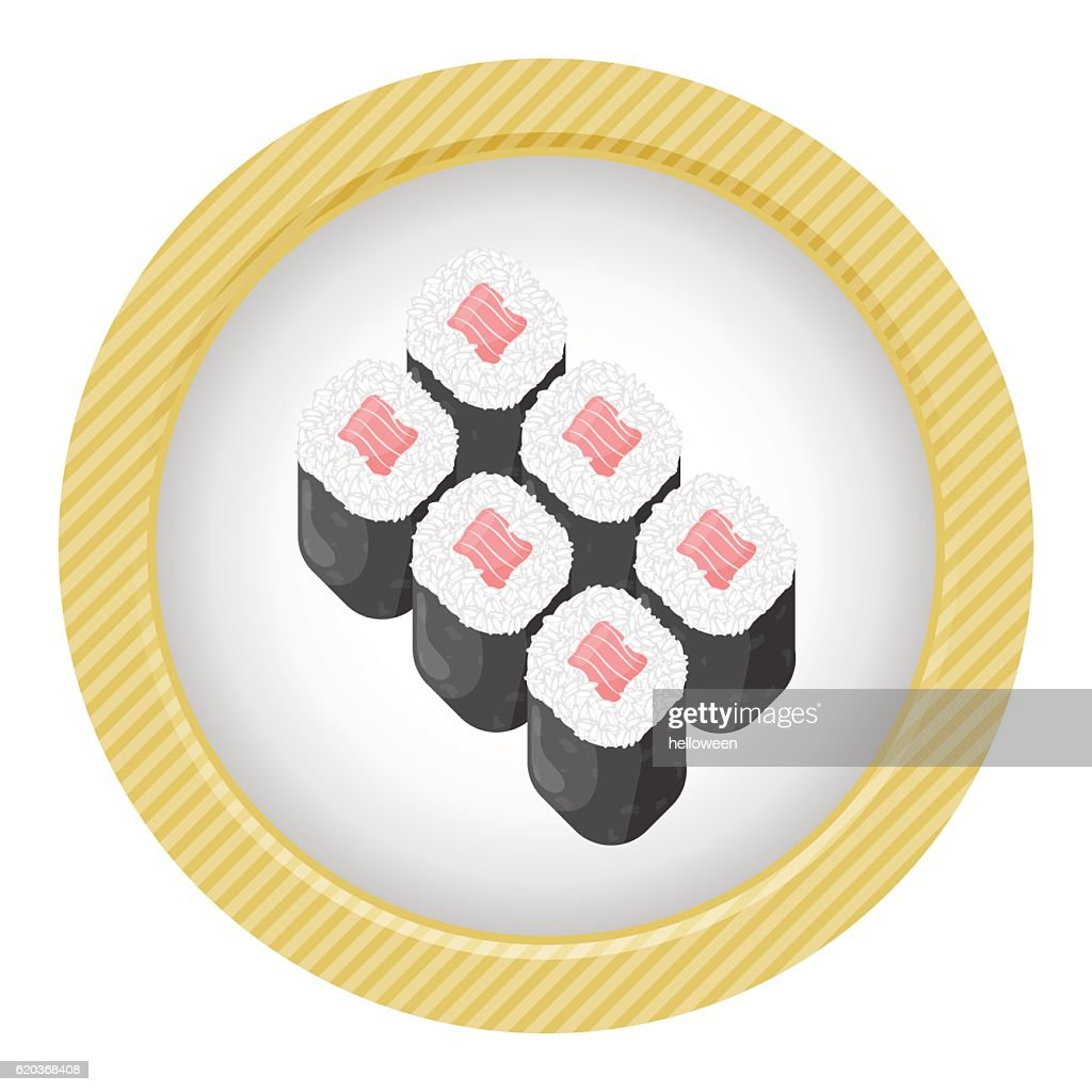 Sushi rolls colorful illustration